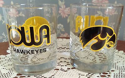 Lot Of Two (2) University Of Iowa Hawkeyes Bar Glasses On The Rocks  Vintage