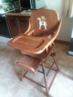 Antique Baby High Chair Wood Maple  Converts to desk walker stroller 1947