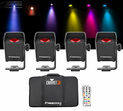 Chauvet DJ Freedom H1 X4 (4) Wireless RGBAW+UV Wash Lights+Bag+Charger+Remote