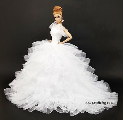 Bride White Dress Outfit Clothes Fits Barbie Silkstone Fashion Royalty Candi FR