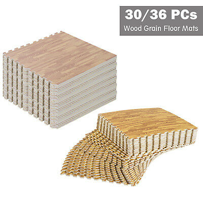 30/36 Pcs Interlocking Floor Tiles EVA Foam Puzzle Mat Wood Grain Effect 60 cm
