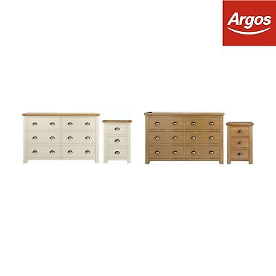Argos Home Kent Bedside & 3+3 Drw Package - Choice of Colour