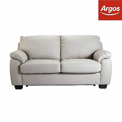 Argos Home New Logan Leather/ Leather Effect Sofa Bed - Grey