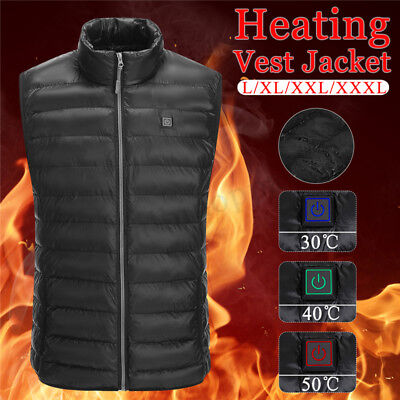 USB Men Electric Heating Vest Jacket Winter Warm Heated Pad Winter Body Warmer