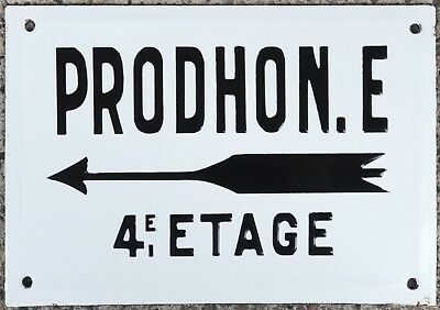 Old French enamel building sign plaque notice name plate Prodhon 4th floor 1960s