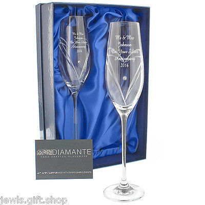 personalised champagne flutes with crystal diamonds & gift box wedding Birthday