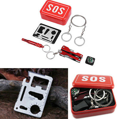 Outdoor 7 in 1 SOS Box Emergency Survival Equipment Tactical Hiking Camping Tool