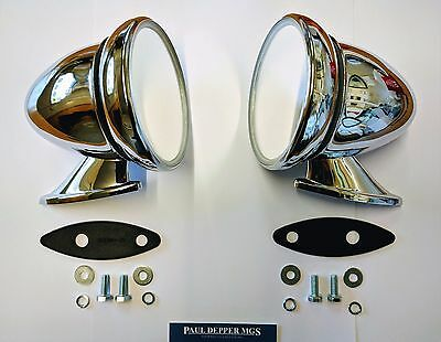 Pair of Classic Car Chrome Racing/ Bullet Wing Mirror Ford/ Triumph Etc