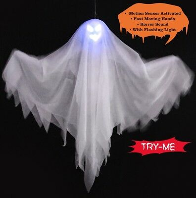 "17"" Halloween Moving Prop LED Light Up Hanging Laughing Ghost Scary Decoration"