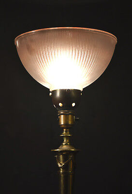 Antique French empire style Edwardian vintage brass lamp tinted holophane shade