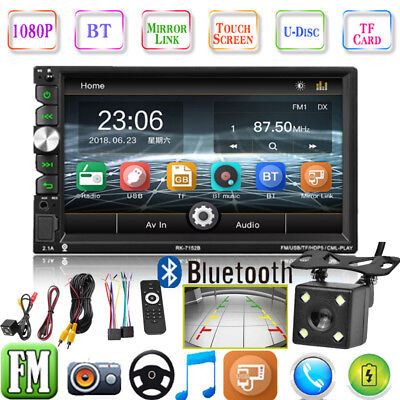 "7"" Double 2Din Touch Screen Car Stereo MP5 MP3 Player BT/TF/USB/AUX Radio+Camera"