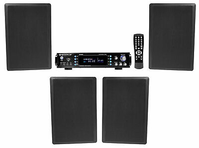 "Rockville 1000W Bluetooth Receiver+(4) 5.25"" Wall Speakers 4 Restaurant/Bar/Cafe"