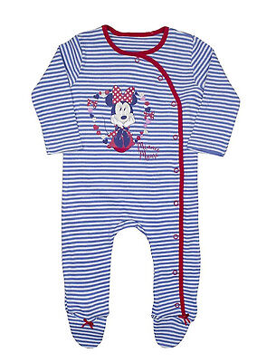 Baby Girls Disney Minnie Mouse Sleepsuit Babygrow All In One Ex Store 0-18M Bnwt