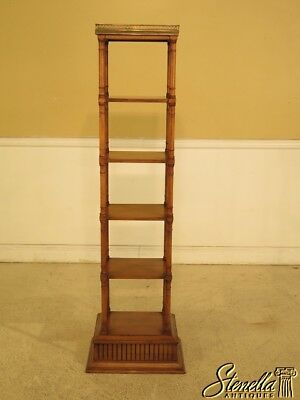 L29775EC: Regency Style 6 Tier Cherry Bookshelf w. Brass Gallery