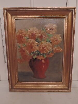 Framed French Still Life Oil on Board Painting Picture Floral Autumn Colors Sign