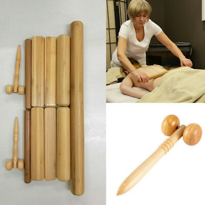 Vulsini Bamboo Massage Stick Set Pack of 9 With 2 Face Rollers