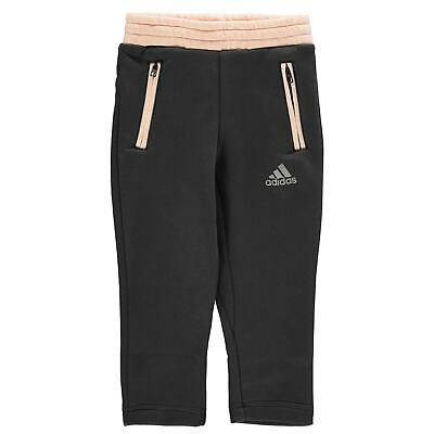 adidas Kids Girls Comfi Jogging Pants Child Fleece Bottoms Trousers Lightweight