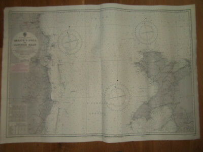ADMIRALTY SEA CHART ST GEORGES CHANNEL DUBLIN TO HOLYHEAD 72x102CM DATED 1955