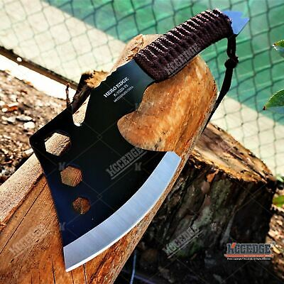 "10.5"" Battle Hatchet TOMAHAWK THROWING AXE GUT HOOK Tactical Hunting Hex Hole"
