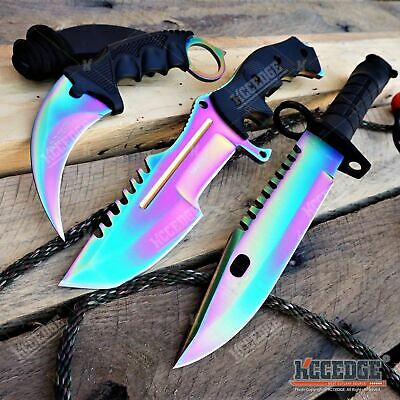 3PC RAINBOW CSGO SET FIXED HUNTSMAN KNIFE + Bayonet KNIFE + Fixed KARAMBIT