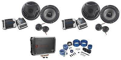 "2) Pairs Rockville RV65.2C 6.5"" Component Car Speakers+4-Channel Amplifier+Wires"