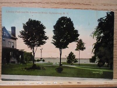 Ogdensburg N Y New York, Library Park & St Lawrence River, early postcard