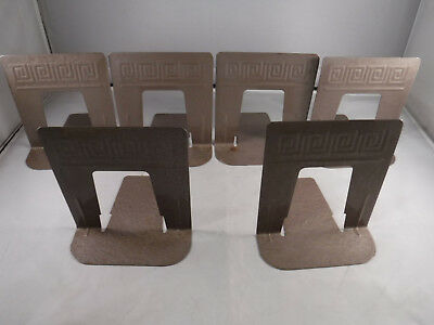 MFR3 6X Vtg MOD RETRO Mid-Century Library Bookends Embossed Steel Industrial