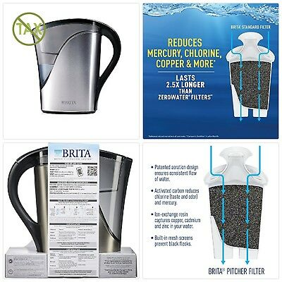 Brita Medium 8 Cup Stainless Steel Water Pitcher With Filter Bpa Free