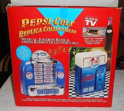 NIB Pepsi-Cola Replica Collectibles (Flashlight/Vending Machine Radio/Jukebox)