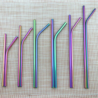 """4X Rainbow Reusable Metal Straw+Cleaner Brush 10.5""""/8.5"""" Color Drinking Straws"""