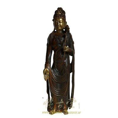 Chinese Antique Carved Bronze Kwan Yin Statuary