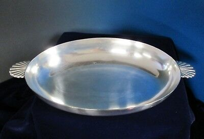 Bruno WISKEMANN Large Oval Serving Bowl Art Deco Shell Handles Silverplate