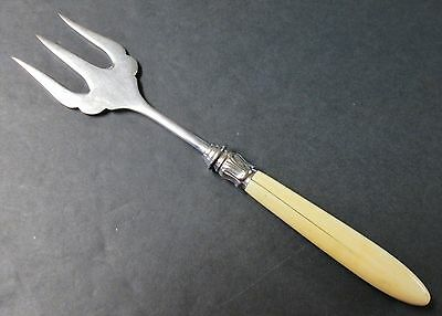 Natural Handle Antique Toast or Bread Fork Silverplate English 1870s-1890s