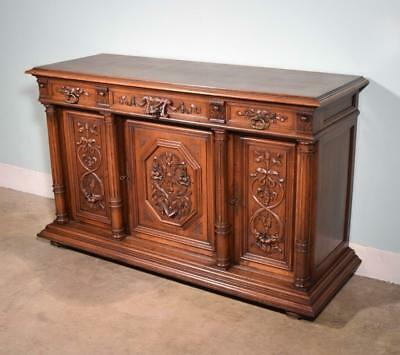 *Antique French Renaissance Revival 3 Door Sideboard/Buffet in Walnut