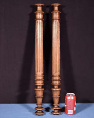 "*25"" Pair of French Antique Solid Walnut Posts/Pillars/Columns Salvage"