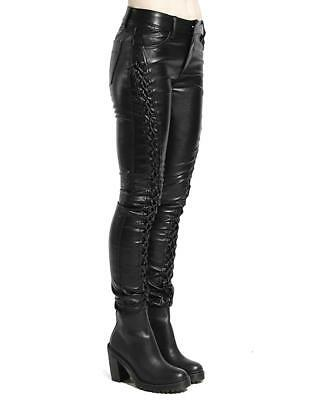 8602a9229b Tripp Gothic Punk Metal Rock Star Faux Leather Lace Up Skinny Jeans Pants  ZX4578