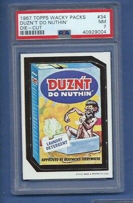 Wacky Packages 1967 Die Cut # 34 Duznt Do Nuthin' Psa 7 Nm