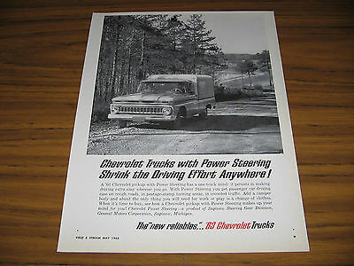 1963 Vintage Ad '63 Chevrolet Pickup Trucks with Power Steering Chevy