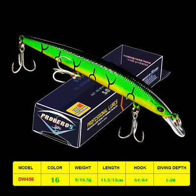 1pc Minnow Fishing Lure 11.5cm/15cm 9g/18.5g Artificial Hard Bassbait Trout Bass