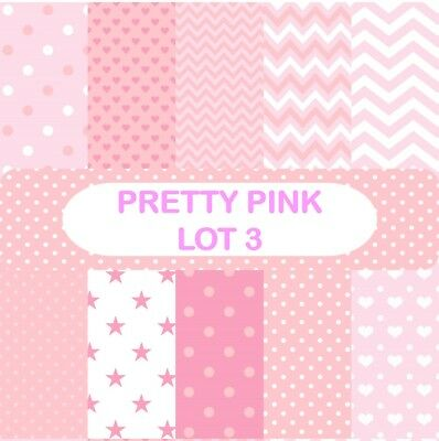 PRETTY PINK - LOT 3 SCRAPBOOK PAPER - 10 x A4 pages