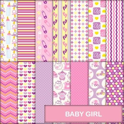 Baby Girl Scrapbook Paper - 14 X A4 Pages