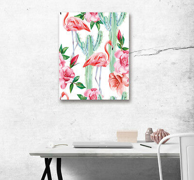 Modern Canvas Painting Art Oil Photo Prints Tropical Flamingo Cactus Room Decor