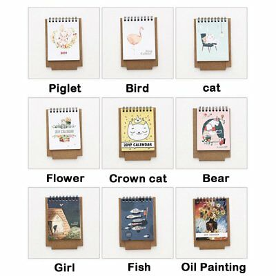 2019 Year Cat DIY Cartoon Mini Desktop Paper Calendar Daily Scheduler Table New