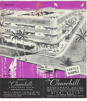 "1950s Brochure, Churchill Apartment Hotel, Miami Beach - ""Gentile Clientele"""