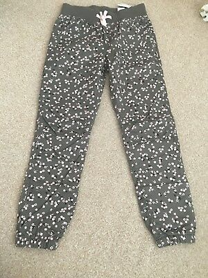 Girls 7-8 Years brown floral print cuffed trousers, new with tags