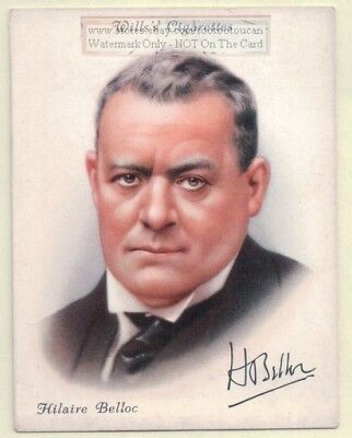 Hilaire Belloc Anglo-French Writer Poet Historian 1930s Ad Trade Card