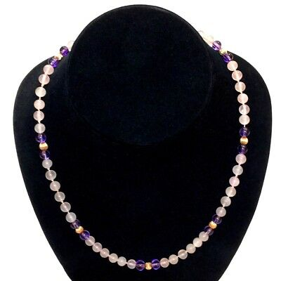 """Vintage 14K Yellow Gold Pink Rose Quartz Amethyst Bead Hand Knotted Necklace 18"""""""