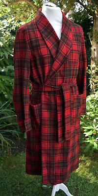 Vintage PENDLETON Plaid USA 100% Wool Check Dressing Gown Robe Jacket