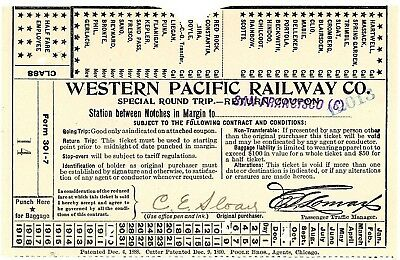 Orig  vintage,used, Western Pacific Ry 1910 ticket, Doyle, Cal and San Francisco