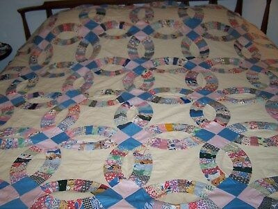 Double Wedding Ring Quilt.Vintage Double Wedding Ring Quilt Top Hand Pieced Approx 88 X 89 Ivory